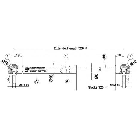 shock absorber CKT 08 - 280N for model CKT Work Ford till 2012