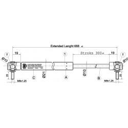 Shock Absorbers CKT 07 - 250N for model CKT Sport Lid